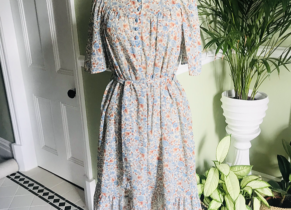 1970s Belted Smock  Dress