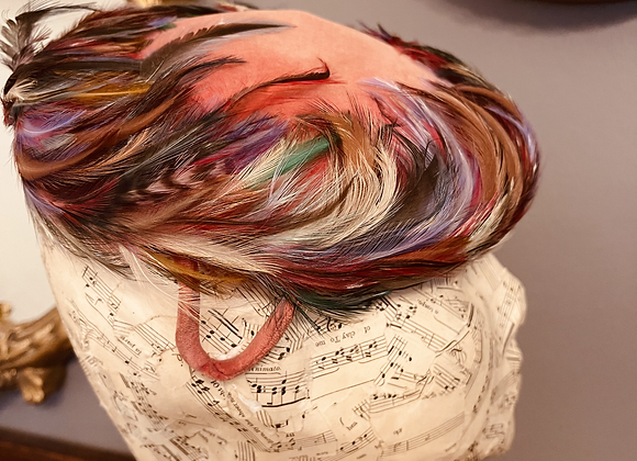 Coral Velvet and Feather Cock Tail Hat