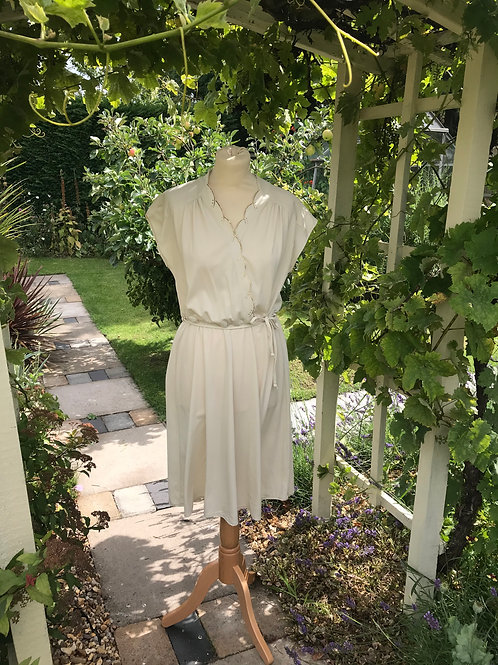 1970s Cream and Gold Dress Front View
