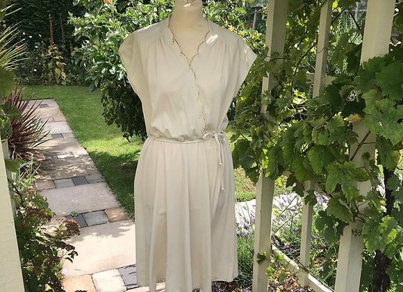 1970s Cream and Gold Dress