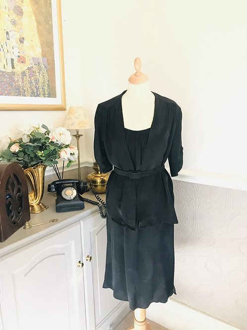 1970s Black Crepe Dress and Jacket By Ego London Front View