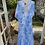 1970s Blue and White Maxi Dress with Angel Sleeve Back View