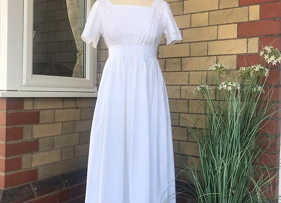 1970s Laura Ashley White Cotton Dress
