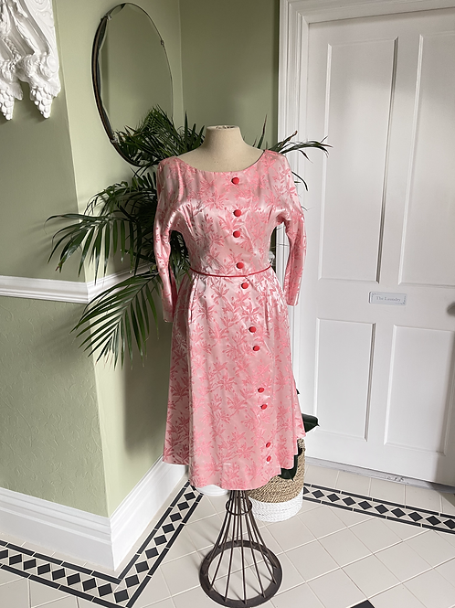 Vintage Pink Brocade Scalloped Edge Gown Front View