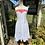 70s White Sun Dress with Red Trim front view