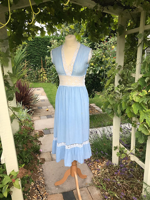 1970s Blue Cheese Cloth and Lace Dress Front View