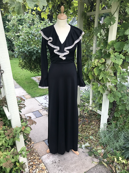 1970s Waterfall Collar Maxi Dress By Radley London Front View