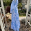 1970s Blue and White Maxi Dress with Angel Sleeve Side View