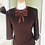 Thumbnail: Wool Crepe Dress with Ribbon Appliqué