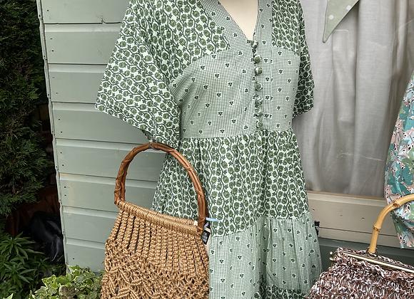 1960s Tiered Cotton Dress with Kimono Sleeve