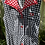 1970s Black, White Red  Gingham Dress Front View