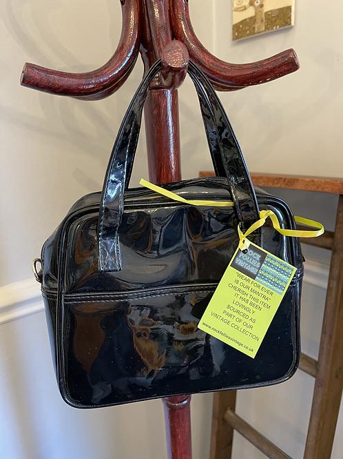 1960s Style Black Patent Handbag Front View