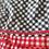 1970s Black, White Red  Gingham Dress Hem detail