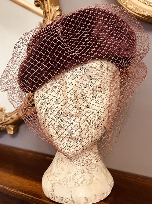 Mauve Velvet Pill Box Hat with Veiling