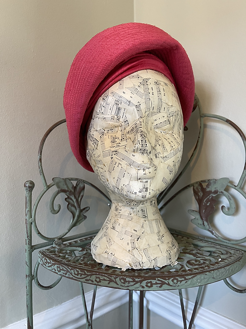 Coral Pink Turban Style Hat