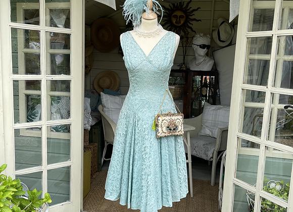 Eau de nil Lace Fit and Flare 1950s Dress