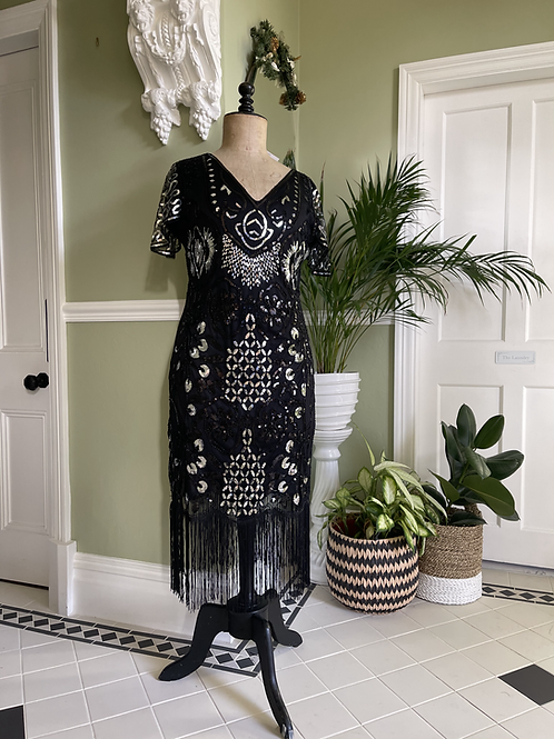 1920s Style Fringed Black and Silver Sequinned Dress Front View