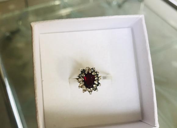 Red Stone  Diamanté Ring