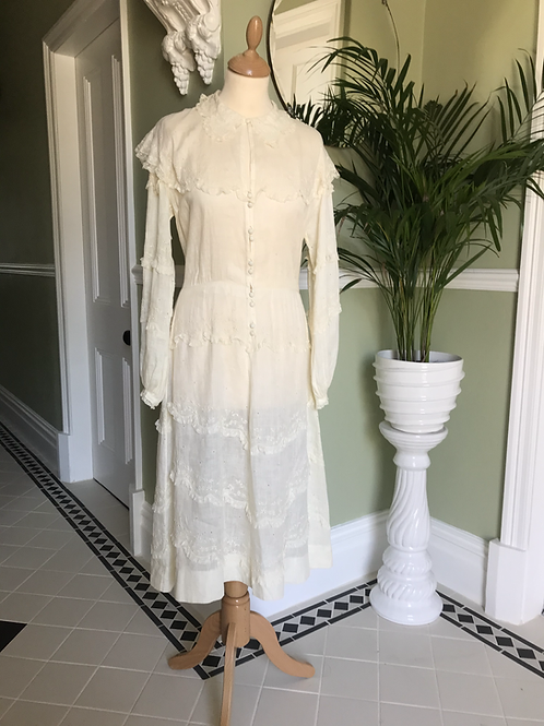Cream Cotton and Lace Edwardian Style Dress Front View