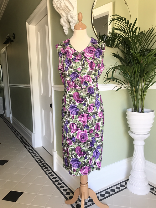 1950s Purple and Greens Pencil Dress Front View