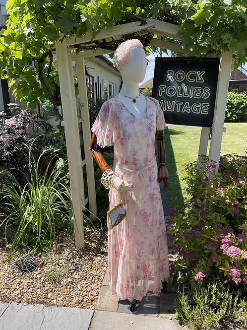 1930s Silk Georgette Dress