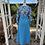 1970s Kingfisher Blue & Print Maxi Dress Back View