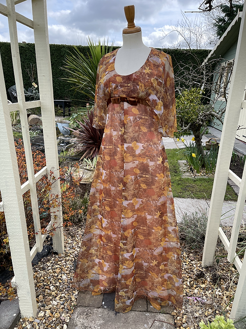 1970s Autumn Coloured Maxi Dress with Caplet Sleeve Front View