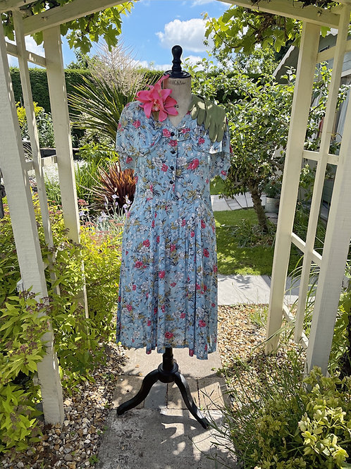 1940s Blue and Pink Floral Day Dress Front View