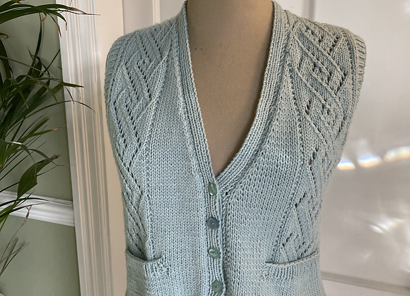 Hand Knitted Duck Egg Blu  Waist Coat
