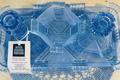 1930s Blue Glass Dressing Table Set