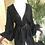 1970s Jean Varon Black Crepe Peplum, Wide-Leg Jump Suit Front View