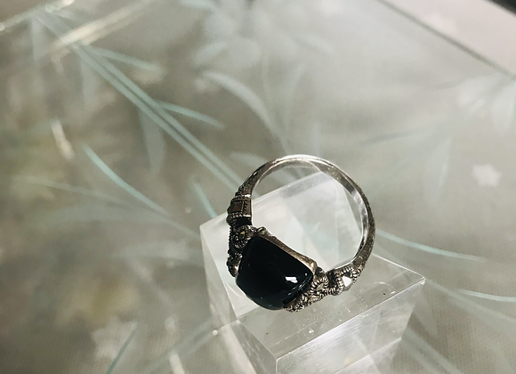 Black Onyx & Marquisette Silver Ring