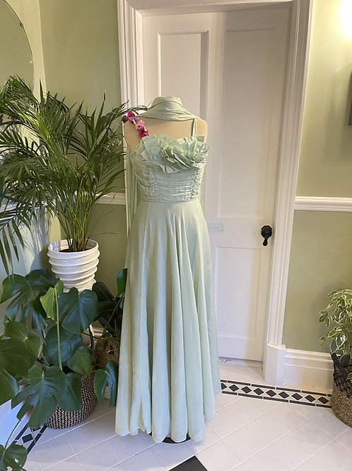 1950s Pale Green Long Chiffon Gown Front View
