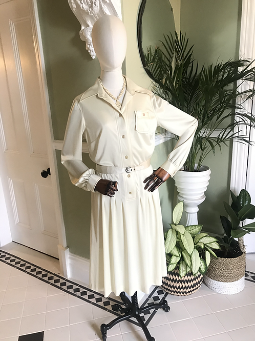 1970s Cream Shirt Dress By Jersey Masters Front View