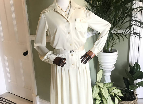 1970s Cream Shirt Dress