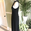 1960s Black Crepe Midi Dress with Pearls By Carnegie Side View