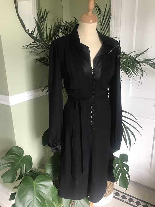Original 1970s Black Moss Crepe Dress By Ossie Clark Front View