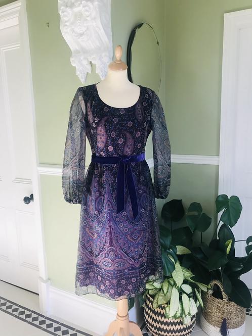 1970s Purple Chiffon Print  Dress Front View