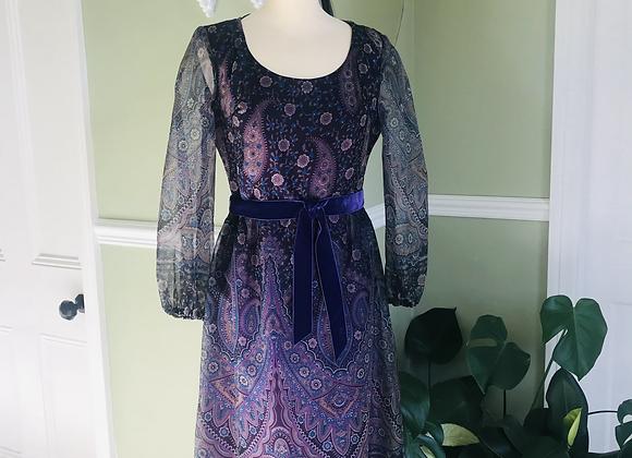 Chiffon Print  Dress 1970s