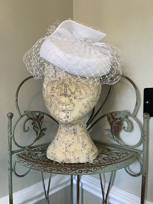 White Pill Box Hat with Veiling