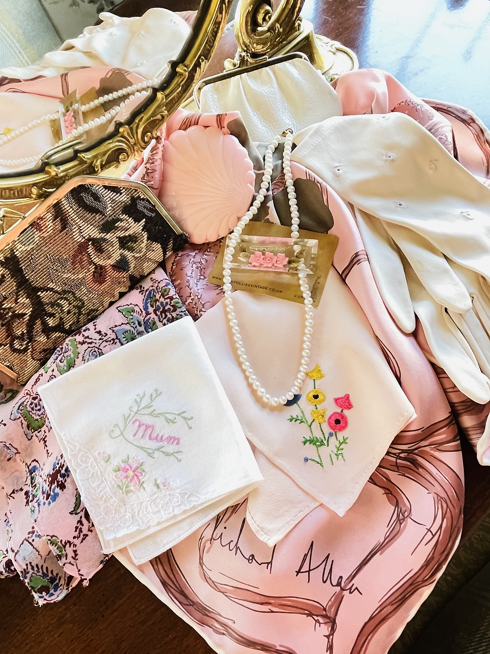 Vintage accessories with a pink Mothers day theme