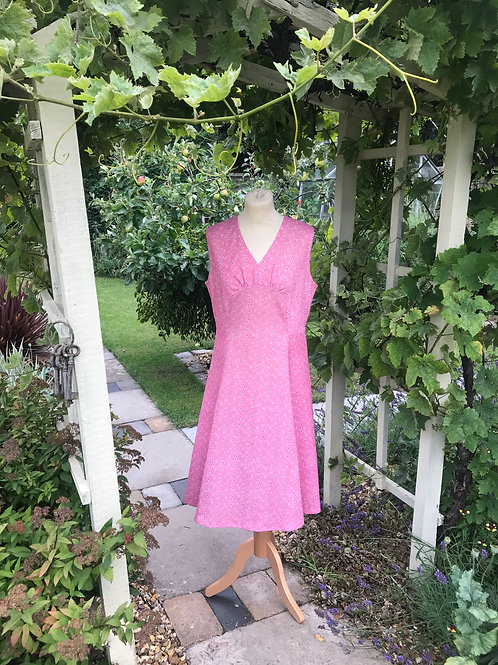 Cherry Pink 1970s day dress Front View