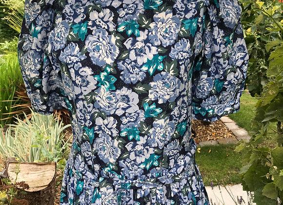 80s Blue Floral Laura Ashley Tea Dress