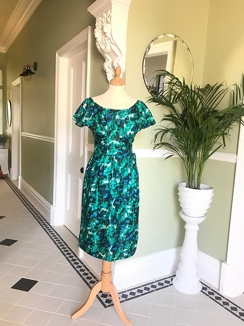 1950's Green Print Silk Cocktail Dress Front View