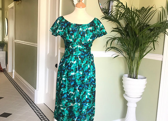 1950's Green Silk Cocktail Dress