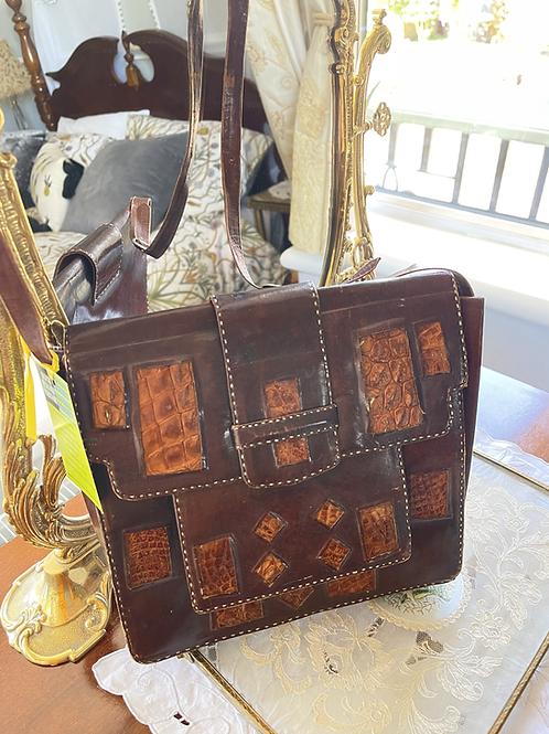Leather  Crocodile Shoulder Bag