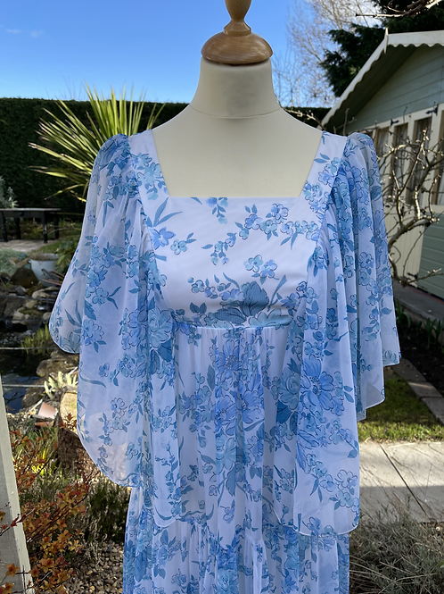 1970s Blue and White Maxi Dress with Angel Sleeve Front View