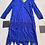 Electric Blue Silk Chiffon Beaded Dress Flat View