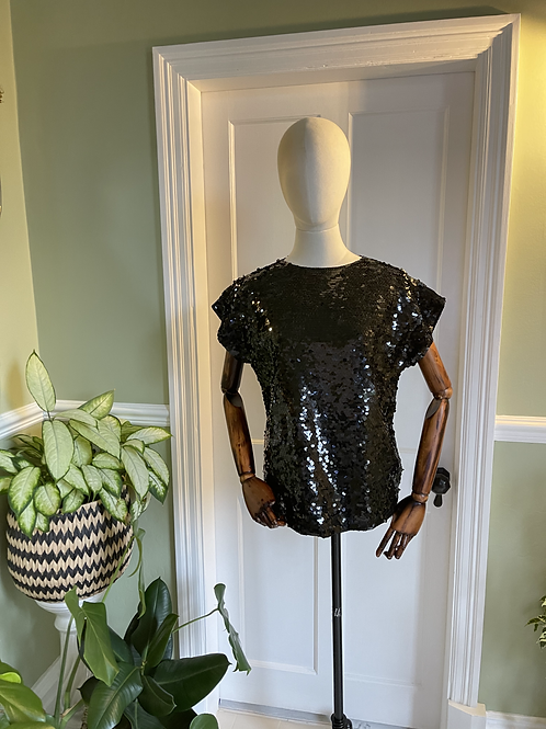 Cap Sleeve Top  with black Jumbo Sequins
