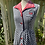 1970s Black, White Red  Gingham Dress Side View